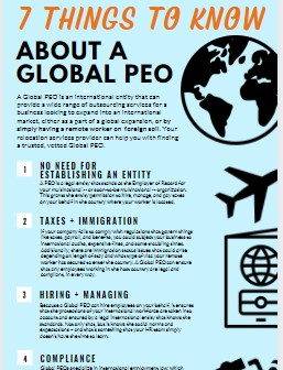 infographic on how a PEO helps remote employees relocation overseas